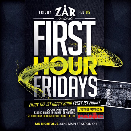 First Hour Fridays:  Red Rose Panic at Zar to Benefit the People of Flint, Michigan