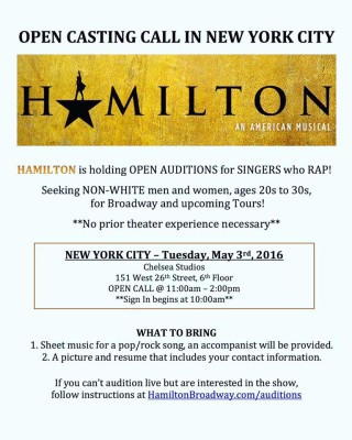 HAMILTON: OPEN CASTING CALL IN NYC or by Video Submission