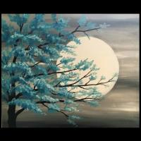 Teal Tree in Moonlight