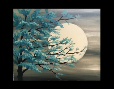 Teal Tree In Moonlight Presented By Paint Nite Akron The