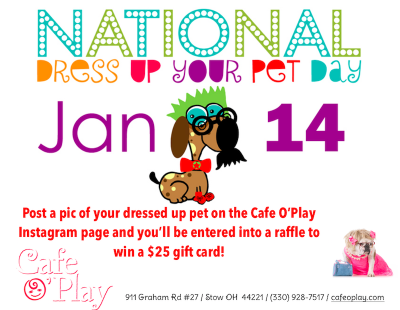 NATIONAL DRESS UP YOUR PET DAY - INSTAGRAM GIVEAWAY at Cafe O'Play