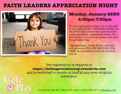 FAITH LEADERS APPRECIATION NIGHT at Cafe O'Play
