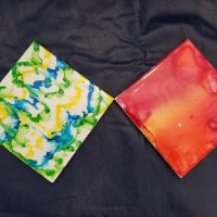 Watercolor Tile Coasters - Evening