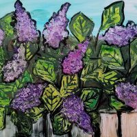 "Sip and Paint ""Lilacs"" Block Print Style at Wolf Creek Tavern, Norton March 14th 7-9pm"