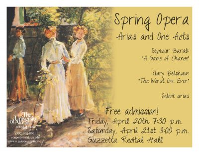 UA Spring Opera: One Acts and Arias