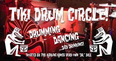 Tiki Drum Circle led by Dr Bill on the Tiki Underground patio