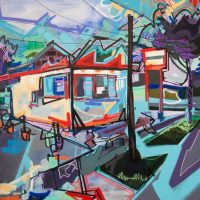 "Opening night for ""Neighborhoods I Know"" exhibition by artist Lizzi Aronhalt"