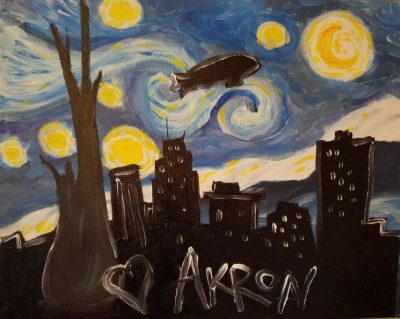 """Brushes and Brews """"Starry Night Over Akron"""" at Thi..."""