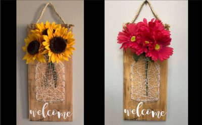 String Art & Painting Wooden Welcome Sign - Pa...