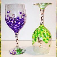 Painted Wine Glasses Sip & Paint Party Art Class
