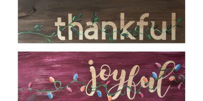 2 sided thankful joyful wooden sign - Paint Create...