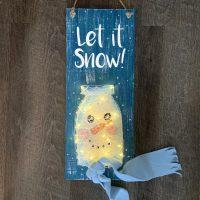 Snowman Sign Mason Jar String Art - Create and Paint Sip Party Art Maker Class