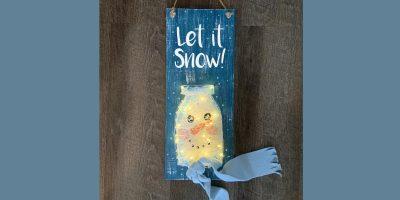 Snowman Sign Mason Jar String Art - Create and Pai...