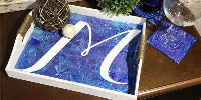 Pour Painting Monogram Tray - Create and Paint Sip Party Art Maker Class