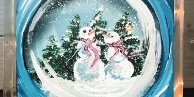 Snowman Snow Globe Glass Block - Create and Paint Sip Party Art Maker