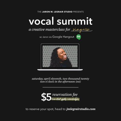 VOCAL SUMMIT: A CREATIVE MASTERCLASS FOR SINGERS (SOLD OUT)
