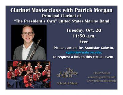 Clarinet Masterclass with Patrick Morgan