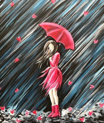 Girl in the Rain Canvas Paint & Sip Art