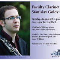 Faculty clarinetist Stanislav Golovin to perform